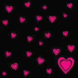Pink Heart valentine vector black background Royalty Free Stock Photos