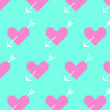 Pink heart and white arrows on blue background.  8bit pixel-art Stock Photos