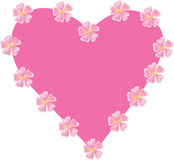 Pink heart with wild roses Stock Photos
