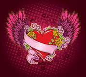 Pink heart with wings Royalty Free Stock Images