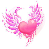 Pink heart with wings Stock Images