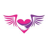 PINK HEART WITH WINGS ICON Stock Photos