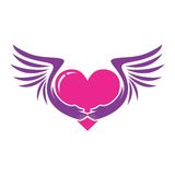PINK HEART WITH WINGS ICON Royalty Free Stock Image