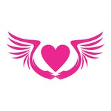 PINK HEART WITH WINGS ICON Royalty Free Stock Photos
