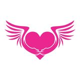 PINK HEART WITH WINGS ICON Stock Photography