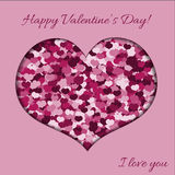 Pink Heart wmade of Hearts on Pink Background for a Valentine Da. Y. Can be used for Love Valentine Letter, Card, Valentines day Celebration, design Stock Images