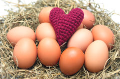 Pink Heart Yarns on eggs in the nest. Royalty Free Stock Photography