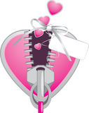 Pink heart with zipper. Festive element Stock Photography