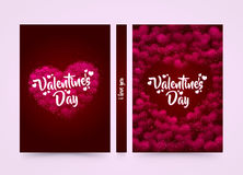 Pink hearted background with a Valentine Day title on it. Format a4 cover. Vector illustration. Stock Images