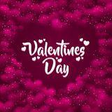 Pink hearted background with a Valentines Day. Royalty Free Stock Photography
