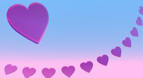 Pink Hearts. Over pink and blue background Royalty Free Stock Photography