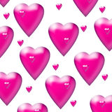 Pink hearts. 2 sizes of randomly placed cerise 3D hearts on a white background Stock Photos