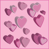 Pink hearts. Pink three-dimensional  hearts in a pink background Royalty Free Stock Photo