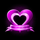Pink Hearts. Vector Pink Heart with Banner Stock Photos