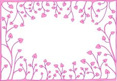 Pink hearts. Abstract frame of pink hearts on white background Royalty Free Stock Photo