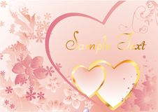 Pink hearts. Two heart in a gold frame on a background colors with space for text Stock Photo