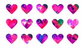 Pink hearts abstract grunge watercolor collection. Isolated on white set hand painted watercolor abstract paint splashes illustration Royalty Free Stock Image