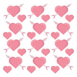 Pink hearts arrows seamless pattern design Royalty Free Stock Photo
