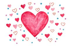 Pink hearts as valentines day card - watercolour painting isolated on white stock photos