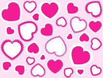 Pink hearts background. Pink ans white hearts on a light-pink background Stock Images