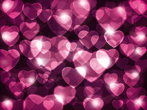 Pink hearts background. Beautiful pink hearts lens flare background royalty free illustration