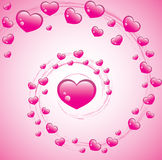 Pink hearts background. A valentines background with pink hearts and a pink spiral stock illustration