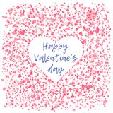 Pink hearts background with white heart in center. Tender pink hearts background with negative space white heart in center. Lovely square wallpaper for vector illustration