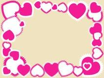 Pink hearts on beige frame. Frame made of pink hearts on a beige background  illustration Royalty Free Stock Images