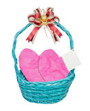 Pink hearts in blue basket Stock Image