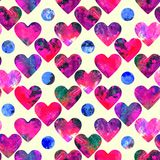 Pink hearts and blue circles abstract grunge colors. Hearts abstract grunge colorful splashes texture watercolor seamless pattern design on soft yellow Stock Photos