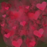 Pink Hearts and Bubbles Background Stock Photo