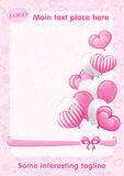 Pink Hearts, butterflies, bows, Balloons and seamless texture Royalty Free Stock Photo