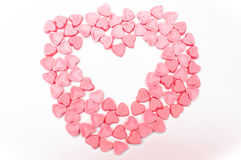 Pink hearts candy isolated Stock Photography