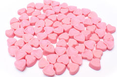 Pink hearts candy isolated stock photo