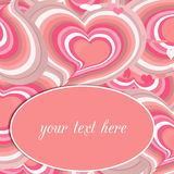 Pink hearts card, Valentine's day. Stock Photos
