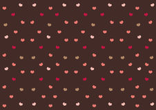 Pink hearts on chocolate brown background | sweet cute pattern wallpaper | valentine day celebrate Stock Images