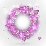 Pink hearts in circle frame Stock Photography