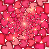 Pink hearts circles shining vector background Royalty Free Stock Photos