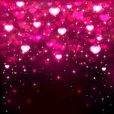 Pink hearts on dark background Stock Photography