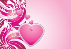 Pink hearts on the decorative background Royalty Free Stock Photography