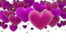 Pink hearts dimensional render Stock Photos