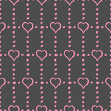 Pink Hearts and Dots on Gray Background Stylish Seamless Pattern. Vector Royalty Free Stock Photography