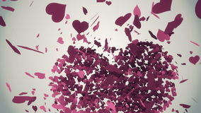 Pink hearts falling with valentines message stock footage