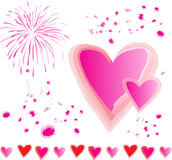 Pink Hearts Firecracker Splashes Vector Royalty Free Stock Photo