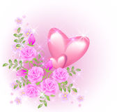 Pink hearts with flowers Royalty Free Stock Photos