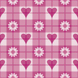 Pink Hearts-Flowers Pattern. A 12 square repeating plaid pattern with pink hearts and flowers Royalty Free Stock Photography