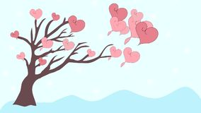Pink hearts fly from tree to love, animation stock video footage