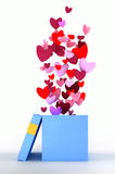Pink hearts flying out of open gift box. The fountain of pink hearts flying out of open gift box Stock Photo