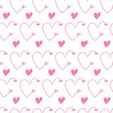 Pink hearts in form of arrows seamless vector backgrounds for Valentine`s Day. Romantic illustration for wallpaper, wrapping, des. Pink hearts in form of arrows vector illustration