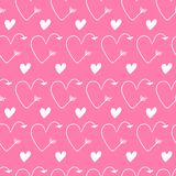 Pink hearts in form of arrows seamless vector backgrounds for Valentine`s Day. Romantic illustration for wallpaper, wrapping, des. Pink hearts in form of arrows royalty free illustration